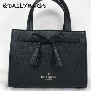 KATE SPADE HAYES MINI TASSEL BLACK CROSSBODY BAG